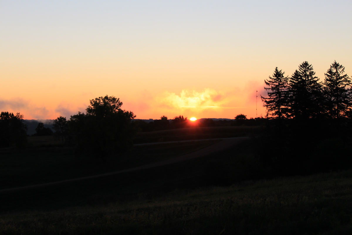 Sunrise at the property for sale near Lansing Iowa
